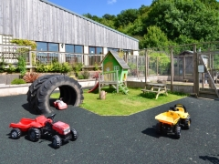 Toddler 'race track' and walk-in rabbit area