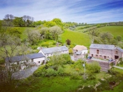 East Liscombe Farm with Anstey Mills Cottages from the air